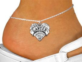 """<bR>      WHOLESALE FASHION COSTUME JEWELRY <BR>                     EXCLUSIVELY OURS!! <BR>                AN ALLAN ROBIN DESIGN!! <BR>          LEAD, NICKEL & CADMIUM FREE!! <BR>     W1527SAK - SILVER TONE AND GENUINE <BR>     CLEAR CRYSTAL """"LAWYER"""" HEART CHARM <Br>   AND ANKLET FROM $4.70 TO $9.35 �2013"""