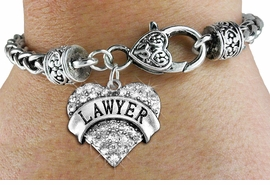 "<BR>  WHOLESALE HEART FASHION JEWELRY <bR>                   EXCLUSIVELY OURS!! <Br>              AN ALLAN ROBIN DESIGN!! <BR>        LEAD, NICKEL & CADMIUM FREE!! <BR>   W1527SB - ANTIQUED SILVER TONE AND <BR>   CLEAR CRYSTAL ""LAWYER"" HEART CHARM <BR>      ON HEART LOBSTER CLASP BRACELET <Br>        FROM $5.98 TO $12.85 �2013"