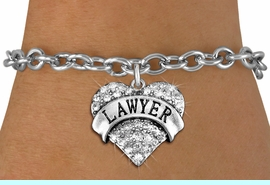 """<BR>     WHOLESALE FASHION HEART JEWELRY <bR>                   EXCLUSIVELY OURS!! <Br>              AN ALLAN ROBIN DESIGN!! <BR>     CLICK HERE TO SEE 1000+ EXCITING <BR>           CHANGES THAT YOU CAN MAKE! <BR>        LEAD, NICKEL & CADMIUM FREE!! <BR>   W1527SB - ANTIQUED SILVER TONE AND <BR>   CLEAR CRYSTAL """"LAWYER"""" HEART CHARM <BR>   BRACELET FROM $5.40 TO $9.85 �2013"""