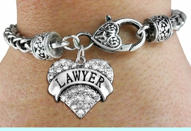 """<BR>  WHOLESALE HEART FASHION JEWELRY <bR>                   EXCLUSIVELY OURS!! <Br>              AN ALLAN ROBIN DESIGN!! <BR>        LEAD, NICKEL & CADMIUM FREE!! <BR>   W1527SB - ANTIQUED SILVER TONE AND <BR>   CLEAR CRYSTAL """"LAWYER"""" HEART CHARM <BR>      ON HEART LOBSTER CLASP BRACELET <Br>        FROM $5.98 TO $12.85 �2013"""