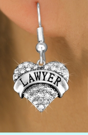"""<BR>  WHOLESALE FASHION HEART EARRINGS <bR>                 EXCLUSIVELY OURS!! <Br>            AN ALLAN ROBIN DESIGN!! <BR>      LEAD, NICKEL & CADMIUM FREE!! <BR>  W1527SE - ANTIQUED SILVER TONE AND <BR>  CLEAR CRYSTAL """"LAWYER"""" HEART CHARM <BR>    EARRINGS FROM $5.40 TO $10.45 �2013"""