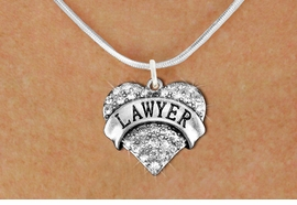 "<BR>  <B>     LAWYER ADJUSTABLE SNAKE CHAIN NECKLACE</B> <bR>                                   <BR>              <BR>          LEAD, NICKEL & CADMIUM FREE!! <BR>     W1527SN - ANTIQUED SILVER TONE AND <BR>     CLEAR CRYSTAL ""LAWYER"" HEART CHARM <BR>      NECKLACE   $9.68 EACH  �2013"