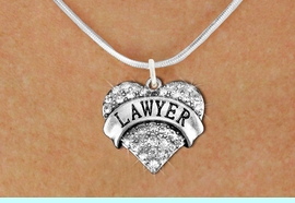 """<BR>  <B>     LAWYER ADJUSTABLE SNAKE CHAIN NECKLACE</B> <bR>                                   <BR>              <BR>          LEAD, NICKEL & CADMIUM FREE!! <BR>     W1527SN - ANTIQUED SILVER TONE AND <BR>     CLEAR CRYSTAL """"LAWYER"""" HEART CHARM <BR>      NECKLACE   $9.68 EACH  �2013"""