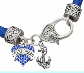<BR><B>COAST GUARD GENUINE CRYSTAL HEART AND ANCHOR</B><br>      <br>GENUINE BLUE WOVEN LEATHER BRACELET <BR>VINTAGE ANTIQUE SILVER LOBSTER CLASP<BR>NO NICKEL, NO LEAD, AND NO POISONOUS CADMIUM <br>W1528-1278B38  $13.68 EACH  �2018