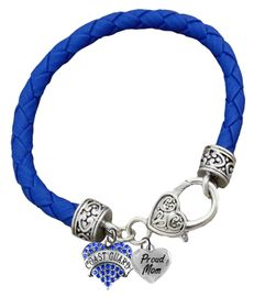 <BR><B>COAST GUARD, PROUD MOM, GENUINE CRYSTAL HEART</B><BR><BR>GENUINE BLUE WOVEN LEATHER BRACELET, VINTAGE ANTIQUE <BR>SILVER LOBSTER CLASP, NO NICKEL, NO LEAD, AND <BR>NO POISONOUS CADMIUM W1528-320B38 $11.88 Each �2018