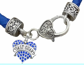 <BR><B>COAST GUARD\ GENUINE CRYSTAL HEART</B><br>      <br>GENUINE BLUE WOVEN LEATHER BRACELET <BR>VINTAGE ANTIQUE SILVER LOBSTER CLASP<BR>NO NICKEL, NO LEAD, AND NO POISONOUS CADMIUM <br>W1528B38  $11.68 EACH  �2018