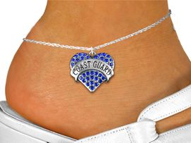 """<bR>      WHOLESALE ARMED FORCES JEWELRY <BR>                     EXCLUSIVELY OURS!! <BR>                AN ALLAN ROBIN DESIGN!! <BR>          LEAD, NICKEL & CADMIUM FREE!! <BR>     W1528SAK - SILVER TONE AND GENUINE <BR>BLUE CRYSTAL """"COAST GUARD"""" HEART CHARM <Br>   AND ANKLET FROM $4.70 TO $9.35 �2013"""