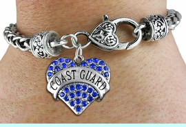 "<BR>  WHOLESALE ARMED FORCES HEART JEWELRY <bR>                   EXCLUSIVELY OURS!! <Br>              AN ALLAN ROBIN DESIGN!! <BR>        LEAD, NICKEL & CADMIUM FREE!! <BR>   W1528SB - ANTIQUED SILVER TONE AND <BR>BLUE CRYSTAL ""COAST GUARD"" HEART CHARM <BR>      ON HEART LOBSTER CLASP BRACELET <Br>        FROM $5.98 TO $12.85 �2013"