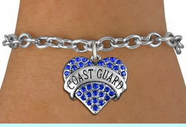 """<BR> WHOLESALE ARMED FORCES HEART JEWELRY <bR>                   EXCLUSIVELY OURS!! <Br>              AN ALLAN ROBIN DESIGN!! <BR>     CLICK HERE TO SEE 1000+ EXCITING <BR>           CHANGES THAT YOU CAN MAKE! <BR>        LEAD, NICKEL & CADMIUM FREE!! <BR>   W1528SB - ANTIQUED SILVER TONE AND <BR>BLUE CRYSTAL """"COAST GUARD"""" HEART CHARM <BR>   BRACELET FROM $5.40 TO $9.85 �2013"""