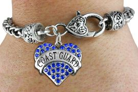"""<BR>  WHOLESALE ARMED FORCES HEART JEWELRY <bR>                   EXCLUSIVELY OURS!! <Br>              AN ALLAN ROBIN DESIGN!! <BR>        LEAD, NICKEL & CADMIUM FREE!! <BR>   W1528SB - ANTIQUED SILVER TONE AND <BR>BLUE CRYSTAL """"COAST GUARD"""" HEART CHARM <BR>      ON HEART LOBSTER CLASP BRACELET <Br>        FROM $5.98 TO $12.85 �2013"""