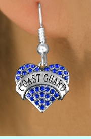 "<BR>                  LEAD, NICKEL & CADMIUM FREE!! <BR>       W1528SE - ANTIQUED SILVER TONE AND <BR>BLUE CRYSTAL ""COAST GUARD"" HEART CHARM <BR>                EARRINGS $12.68 EACH �2013"
