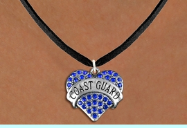 """<BR>   WHOLESALE FASHION ARMED FORCES JEWELRY <bR>                     EXCLUSIVELY OURS!! <Br>                AN ALLAN ROBIN DESIGN!! <BR>       CLICK HERE TO SEE 1000+ EXCITING <BR>             CHANGES THAT YOU CAN MAKE! <BR>          LEAD, NICKEL & CADMIUM FREE!! <BR>     W1528SN - ANTIQUED SILVER TONE AND <BR>BLUE CRYSTAL """"COAST GUARD"""" HEART CHARM <BR>      NECKLACE FROM $5.40 TO $9.85 �2013"""