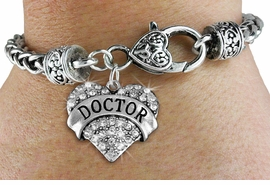 """<BR>  WHOLESALE FASHION COSTUME JEWELRY <bR>                   EXCLUSIVELY OURS!! <Br>              AN ALLAN ROBIN DESIGN!! <BR>        LEAD, NICKEL & CADMIUM FREE!! <BR>   W1532SB - ANTIQUED SILVER TONE AND <BR>CLEAR CRYSTAL """"DOCTOR"""" HEART CHARM <BR>      ON HEART LOBSTER CLASP BRACELET <Br>        FROM $5.98 TO $12.85 �2013"""
