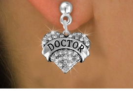 "<BR>  WHOLESALE COSTUME FASHION EARRINGS <bR>                 EXCLUSIVELY OURS!! <Br>            AN ALLAN ROBIN DESIGN!! <BR>      LEAD, NICKEL & CADMIUM FREE!! <BR>  W1532SE - ANTIQUED SILVER TONE AND <BR>CLEAR CRYSTAL ""DOCTOR"" HEART CHARM <BR>    EARRINGS FROM $5.40 TO $10.45 �2013"