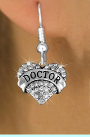 """<BR>  WHOLESALE COSTUME FASHION EARRINGS <bR>                 EXCLUSIVELY OURS!! <Br>            AN ALLAN ROBIN DESIGN!! <BR>      LEAD, NICKEL & CADMIUM FREE!! <BR>  W1532SE - ANTIQUED SILVER TONE AND <BR>CLEAR CRYSTAL """"DOCTOR"""" HEART CHARM <BR>    EARRINGS FROM $5.40 TO $10.45 �2013"""