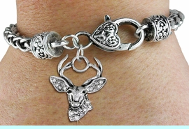 <BR>  WHOLESALE HUNTING FASHION JEWELRY <bR>                   EXCLUSIVELY OURS!! <Br>              AN ALLAN ROBIN DESIGN!! <BR>        LEAD, NICKEL & CADMIUM FREE!! <BR>   W1533SB - ANTIQUED SILVER TONE AND <BR>CLEAR CRYSTAL DEER HEAD CHARM <BR>      ON HEART LOBSTER CLASP BRACELET <Br>        FROM $5.98 TO $12.85 �2013