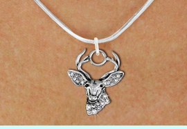 <BR>   WHOLESALE HUNTING FASHION JEWELRY <bR>                     EXCLUSIVELY OURS!! <Br>                AN ALLAN ROBIN DESIGN!! <BR>       CLICK HERE TO SEE 1000+ EXCITING <BR>             CHANGES THAT YOU CAN MAKE! <BR>          LEAD, NICKEL & CADMIUM FREE!! <BR>     W1533SN - ANTIQUED SILVER TONE AND <BR>AUSTRIAN CLEAR CRYSTAL DEER HEAD CHARM <BR>      NECKLACE FROM $5.40 TO $9.85 �2013