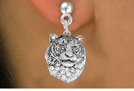 <BR>  WHOLESALE ANIMAL FASHION EARRINGS <bR>                 EXCLUSIVELY OURS!! <Br>            AN ALLAN ROBIN DESIGN!! <BR>      LEAD, NICKEL & CADMIUM FREE!! <BR>  W1534SE - ANTIQUED SILVER TONE AND <BR>AUSTRIAN CLEAR CRYSTAL TIGER HEAD CHARM <BR>    EARRINGS FROM $5.40 TO $10.45 �2013