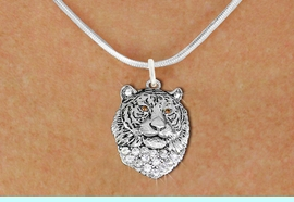 <BR>   WHOLESALE ANIMAL FASHION JEWELRY <bR>                     EXCLUSIVELY OURS!! <Br>                AN ALLAN ROBIN DESIGN!! <BR>       CLICK HERE TO SEE 1000+ EXCITING <BR>             CHANGES THAT YOU CAN MAKE! <BR>          LEAD, NICKEL & CADMIUM FREE!! <BR>     W1534SN - ANTIQUED SILVER TONE AND <BR>AUSTRIAN CLEAR CRYSTAL TIGER HEAD CHARM <BR>      NECKLACE FROM $5.40 TO $9.85 �2013