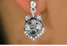 <BR>  WHOLESALE ANIMAL FASHION EARRINGS <bR>                 EXCLUSIVELY OURS!! <Br>            AN ALLAN ROBIN DESIGN!! <BR>      LEAD, NICKEL & CADMIUM FREE!! <BR>  W1535SE - ANTIQUED SILVER TONE AND <BR>AUSTRIAN CLEAR CRYSTAL WOLF HEAD CHARM <BR>    EARRINGS FROM $5.40 TO $10.45 �2013