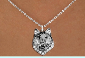 <BR>   WHOLESALE ANIMAL FASHION JEWELRY <bR>                     EXCLUSIVELY OURS!! <Br>                AN ALLAN ROBIN DESIGN!! <BR>       CLICK HERE TO SEE 1000+ EXCITING <BR>             CHANGES THAT YOU CAN MAKE! <BR>          LEAD, NICKEL & CADMIUM FREE!! <BR>     W1535SN - ANTIQUED SILVER TONE AND <BR>AUSTRIAN CLEAR CRYSTAL WOLF HEAD CHARM <BR>      NECKLACE FROM $5.40 TO $9.85 �2013