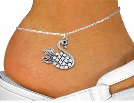 <bR>    WHOLESALE FASHION ANIMAL JEWELRY <BR>                   EXCLUSIVELY OURS!! <BR>              AN ALLAN ROBIN DESIGN!! <BR>        LEAD, NICKEL & CADMIUM FREE!! <BR>  W1536SAK - DETAILED SILVER TONE AND <BR> AURORA BOREALIS CRYSTAL SWAN CHARM <Br> AND ANKLET FROM $4.70 TO $9.35 �2013