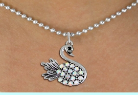 <BR>   WHOLESALE ANIMAL FASHION JEWELRY <bR>                     EXCLUSIVELY OURS!! <Br>                AN ALLAN ROBIN DESIGN!! <BR>       CLICK HERE TO SEE 1000+ EXCITING <BR>             CHANGES THAT YOU CAN MAKE! <BR>          LEAD, NICKEL & CADMIUM FREE!! <BR>     W1536SN - ANTIQUED SILVER TONE AND <BR>AURORA BOREALIS CRYSTAL SWAN CHARM <BR>      NECKLACE FROM $5.40 TO $9.85 �2013
