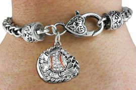 <BR>   WHOLESALE FASHION BASEBALL JEWELRY <bR>                 EXCLUSIVELY OURS!! <Br>            AN ALLAN ROBIN DESIGN!! <BR>      LEAD, NICKEL & CADMIUM FREE!! <BR> W1537SB - ANTIQUED SILVER TONE AND <BR>CRYSTAL BASEBALL GLOVE AND BALL CHARM <BR>    ON HEART LOBSTER CLASP BRACELET <Br>      FROM $5.98 TO $12.85 �2013