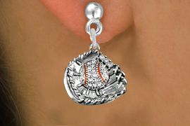<BR> WHOLESALE BASEBALL FASHION EARRINGS <bR>               EXCLUSIVELY OURS!! <Br>          AN ALLAN ROBIN DESIGN!! <BR>    LEAD, NICKEL & CADMIUM FREE!! <BR> W1537SE - ANTIQUED SILVER TONE AND <BR>CLEAR CRYSTAL BASEBALL GLOVE WITH BALL <BR>  CHARM EARRINGS FROM $5.40 TO $10.45 �2013