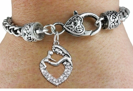<BR>   WHOLESALE PARENTING FASHION JEWELRY <bR>                 EXCLUSIVELY OURS!! <Br>            AN ALLAN ROBIN DESIGN!! <BR>      LEAD, NICKEL & CADMIUM FREE!! <BR> W1539SB - ANTIQUED SILVER TONE AND <BR>CLEAR CRYSTAL MOTHER AND CHILD CHARM <BR>    ON HEART LOBSTER CLASP BRACELET <Br>      FROM $5.98 TO $12.85 �2013