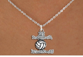 """<br>        WHOLESALE SPORTS COSTUME JEWELRY <bR>                   EXCLUSIVELY OURS!! <BR>              AN ALLAN ROBIN DESIGN!! <BR>     CLICK HERE TO SEE 1000+ EXCITING <BR>           CHANGES THAT YOU CAN MAKE! <BR>        CADMIUM, LEAD & NICKEL FREE!! <BR>     W1546SN - BEAUTIFUL SILVER TONE <BR>""""IF I BELIEVE IT, I CAN DO IT!"""" <BR>    VOLLEYBALL CHARM & NECKLACE <BR>             FROM $4.85 TO $8.30 �2013"""