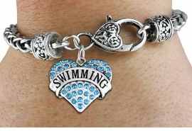"<BR>  WHOLESALE SPORTS WRIST JEWELRY <bR>                   EXCLUSIVELY OURS!! <Br>              AN ALLAN ROBIN DESIGN!! <BR>        LEAD, NICKEL & CADMIUM FREE!! <BR>   W1547SB - ANTIQUED SILVER TONE AND <BR>AQUA BLUE CRYSTAL ""SWIMMING"" HEART CHARM <BR>      ON HEART LOBSTER CLASP BRACELET <Br>        FROM $5.98 TO $12.85 �2013"