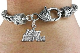 """<bR>    WHOLESALE FASHION CHARM BRACELET <BR>                     EXCLUSIVELY OURS!! <BR>                AN ALLAN ROBIN DESIGN!! <BR>          CADMIUM, LEAD & NICKEL FREE!! <BR>        W1549SB - BEAUTIFUL SILVER TONE  <BR>""""#1 ACTRESS"""" WITH MASK CHARM & HEART CLASP <BR>      BRACELET FROM $4.40 TO $9.20 �2013"""