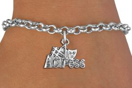 """<br> WHOLESALE COSTUME FASHION BRACELET <bR>                    EXCLUSIVELY OURS!!<BR>               AN ALLAN ROBIN DESIGN!!<BR>      CLICK HERE TO SEE 1000+ EXCITING<BR>            CHANGES THAT YOU CAN MAKE!<BR>         CADMIUM, LEAD & NICKEL FREE!!<BR>     W1549SB - BEAUTIFUL SILVER TONE <Br>""""#1 ACTRESS"""" WITH MASK CHARM & BRACELET <BR>             FROM $4.50 TO $8.35 �2013"""