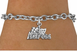 "<br> WHOLESALE COSTUME FASHION BRACELET <bR>                    EXCLUSIVELY OURS!!<BR>               AN ALLAN ROBIN DESIGN!!<BR>      CLICK HERE TO SEE 1000+ EXCITING<BR>            CHANGES THAT YOU CAN MAKE!<BR>         CADMIUM, LEAD & NICKEL FREE!!<BR>     W1549SB - BEAUTIFUL SILVER TONE <Br>""#1 ACTRESS"" WITH MASK CHARM & BRACELET <BR>             FROM $4.50 TO $8.35 �2013"