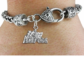 "<bR>    WHOLESALE FASHION CHARM BRACELET <BR>                     EXCLUSIVELY OURS!! <BR>                AN ALLAN ROBIN DESIGN!! <BR>          CADMIUM, LEAD & NICKEL FREE!! <BR>        W1549SB - BEAUTIFUL SILVER TONE  <BR>""#1 ACTRESS"" WITH MASK CHARM & HEART CLASP <BR>      BRACELET FROM $4.40 TO $9.20 �2013"