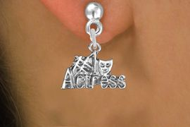 """<br>        WHOLESALE COSTUME EARRINGS <bR>                 EXCLUSIVELY OURS!! <BR>            AN ALLAN ROBIN DESIGN!! <BR>      CADMIUM, LEAD & NICKEL FREE!! <BR>    W1549SE - BEAUTIFUL SILVER TONE <Br>""""#1 ACTRESS"""" WITH MASK CHARM EARRINGS <BR>          FROM $3.65 TO $8.40 �2013"""