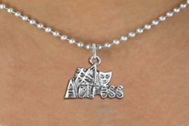 """<br>        WHOLESALE FASHION COSTUME JEWELRY <bR>                   EXCLUSIVELY OURS!! <BR>              AN ALLAN ROBIN DESIGN!! <BR>     CLICK HERE TO SEE 1000+ EXCITING <BR>           CHANGES THAT YOU CAN MAKE! <BR>        CADMIUM, LEAD & NICKEL FREE!! <BR>     W1549SN - BEAUTIFUL SILVER TONE <BR>""""#1 ACTRESS"""" WITH MASK CHARM & NECKLACE <BR>             FROM $4.85 TO $8.30 �2013"""