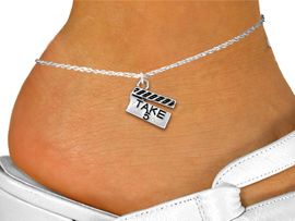"""<bR>       WHOLESALE FASHION ANKLET JEWELRY <BR>                  EXCLUSIVELY OURS!! <BR>             AN ALLAN ROBIN DESIGN!! <BR>       CADMIUM, LEAD & NICKEL FREE!! <BR>    W1550SAK - BEAUTIFUL SILVER TONE <Br>""""TAKE 5"""" MOVIE CLAPBOARD CHARM & ANKLET <BR>           FROM $3.65 TO $8.30 �2013"""