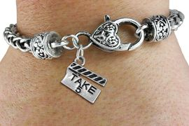 """<bR>    WHOLESALE FASHION CHARM BRACELET <BR>                     EXCLUSIVELY OURS!! <BR>                AN ALLAN ROBIN DESIGN!! <BR>          CADMIUM, LEAD & NICKEL FREE!! <BR>        W1550SB - BEAUTIFUL SILVER TONE  <BR>""""TAKE 5"""" MOVIE CLAPBOARD CHARM & HEART CLASP <BR>      BRACELET FROM $4.40 TO $9.20 �2013"""