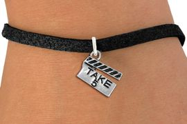 """<br> WHOLESALE COSTUME FASHION BRACELET <bR>                    EXCLUSIVELY OURS!!<BR>               AN ALLAN ROBIN DESIGN!!<BR>      CLICK HERE TO SEE 1000+ EXCITING<BR>            CHANGES THAT YOU CAN MAKE!<BR>         CADMIUM, LEAD & NICKEL FREE!!<BR>     W1550SB - BEAUTIFUL SILVER TONE <Br>""""TAKE 5"""" MOVIE CLAPBOARD CHARM & BRACELET <BR>             FROM $4.50 TO $8.35 �2013"""