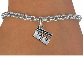 "<br> WHOLESALE COSTUME FASHION BRACELET <bR>                    EXCLUSIVELY OURS!!<BR>               AN ALLAN ROBIN DESIGN!!<BR>      CLICK HERE TO SEE 1000+ EXCITING<BR>            CHANGES THAT YOU CAN MAKE!<BR>         CADMIUM, LEAD & NICKEL FREE!!<BR>     W1550SB - BEAUTIFUL SILVER TONE <Br>""TAKE 5"" MOVIE CLAPBOARD CHARM & BRACELET <BR>             FROM $4.50 TO $8.35 �2013"