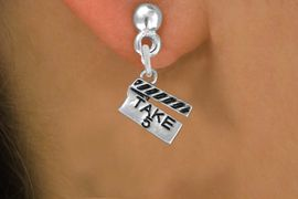 """<br>        WHOLESALE COSTUME EARRINGS <bR>                 EXCLUSIVELY OURS!! <BR>            AN ALLAN ROBIN DESIGN!! <BR>      CADMIUM, LEAD & NICKEL FREE!! <BR>    W1550SE - BEAUTIFUL SILVER TONE <Br>""""TAKE 5"""" MOVIE CLAPBOARD CHARM EARRINGS <BR>          FROM $3.65 TO $8.40 �2013"""