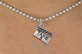 """<br>        WHOLESALE FASHION COSTUME JEWELRY <bR>                   EXCLUSIVELY OURS!! <BR>              AN ALLAN ROBIN DESIGN!! <BR>     CLICK HERE TO SEE 1000+ EXCITING <BR>           CHANGES THAT YOU CAN MAKE! <BR>        CADMIUM, LEAD & NICKEL FREE!! <BR>     W1550SN - BEAUTIFUL SILVER TONE <BR>""""TAKE 5"""" MOVIE CLAPBOARD CHARM & NECKLACE <BR>             FROM $4.85 TO $8.30 �2013"""