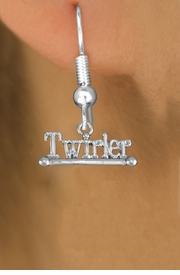 "<br>        WHOLESALE COSTUME EARRINGS <bR>                 EXCLUSIVELY OURS!! <BR>            AN ALLAN ROBIN DESIGN!! <BR>      CADMIUM, LEAD & NICKEL FREE!! <BR>    W1551SE - BEAUTIFUL SILVER TONE <Br>""TWIRLER"" WITH BATON CHARM EARRINGS <BR>          FROM $3.65 TO $8.40 �2013"
