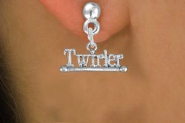 """<br>        WHOLESALE COSTUME EARRINGS <bR>                 EXCLUSIVELY OURS!! <BR>            AN ALLAN ROBIN DESIGN!! <BR>      CADMIUM, LEAD & NICKEL FREE!! <BR>    W1551SE - BEAUTIFUL SILVER TONE <Br>""""TWIRLER"""" WITH BATON CHARM EARRINGS <BR>          FROM $3.65 TO $8.40 �2013"""