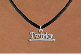 """<br>        WHOLESALE FASHION COSTUME JEWELRY <bR>                   EXCLUSIVELY OURS!! <BR>              AN ALLAN ROBIN DESIGN!! <BR>     CLICK HERE TO SEE 1000+ EXCITING <BR>           CHANGES THAT YOU CAN MAKE! <BR>        CADMIUM, LEAD & NICKEL FREE!! <BR>     W1551SN - BEAUTIFUL SILVER TONE <BR>""""TWIRLER"""" WITH BATON CHARM & NECKLACE <BR>             FROM $4.85 TO $8.30 �2013"""
