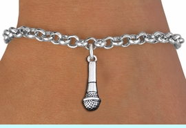 """<br> SINGER""""S MICROPHONE CHARM BRACELET <bR>                    EXCLUSIVELY OURS!!<BR>               AN ALLAN ROBIN DESIGN!!<BR>       CADMIUM, LEAD & NICKEL FREE!!<BR>   W1554B2 - DETAILED 3D SILVER TONE <Br>         MICROPHONE CHARM BRACELET <BR>         ADJUSTABLE $8.38 EACH �2014"""
