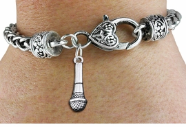 <bR>         MICROPHONE CHARM BRACELET <BR>                      EXCLUSIVELY OURS!!  <BR>                AN ALLAN ROBIN DESIGN!! <BR>          CADMIUM, LEAD & NICKEL FREE!! <BR>        W1554B1 - DETAILED 3D SILVER TONE  <BR>        MICROPHONE CHARM & HEART CLASP <BR>               BRACELET $9.38 EACH �2014