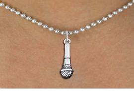 <br>    MICROPHONE NECKLACE<, ADJUSTABLE <bR>                     EXCLUSIVELY OURS <BR>                  AN ALLAN ROBIN DESIGN!<BR>        CADMIUM, LEAD & NICKEL FREE!! <BR>  W1554N5 - DETAILED 3D SILVER TONE <BR>     MICROPHONE CHARM & NECKLACE <BR>                    $8.38 EACH �2014